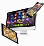 Online slots shown on a computer, a tablet and a mobile