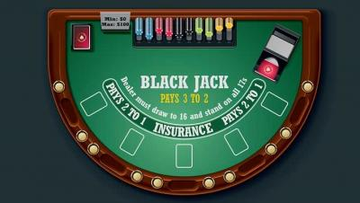 A typical online blackjack table
